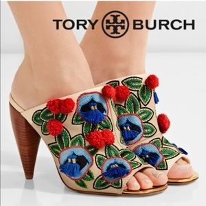 🆕TORY BURCH Embellished Leather Peep Toe Mules
